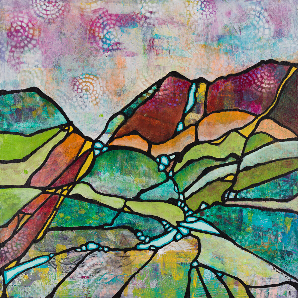 """""""Ridges and Rivers"""" by Becka Watkins, 20x20"""" wrapped canvas (no frame)"""